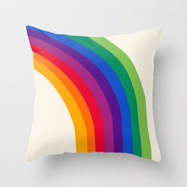 Groovy - rainbow 70s 1970s style retro throwback minimal happy hippie art decor Throw Pillow
