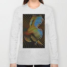0474s-MM Sensual Abstract Figure Zebra Striped Op Art Nude Woman Back Butt Powerful Artwork Long Sleeve T-shirt