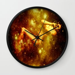Golden Galaxy Woman : Nude Art Wall Clock