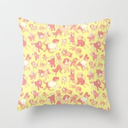Dogs In Sweaters (Yellow) Throw Pillow