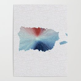 Colorful Art Puerto Rico Map Blue, Red and White Poster