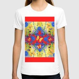 RED GARDEN  BLUE FLOWERS YELLOW BUTTERFLIES T-shirt