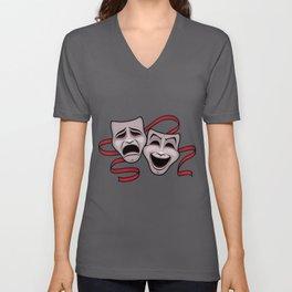 Comedy And Tragedy Theater Masks Unisex V-Ausschnitt