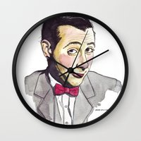 pee wee Wall Clocks featuring Pee Wee by Jesse Robinson Williams