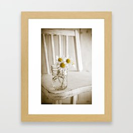Simple White Daisy Flowers Framed Art Print