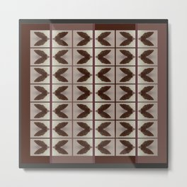 Mirror image, SEED PODS, brown and tan, block design Metal Print