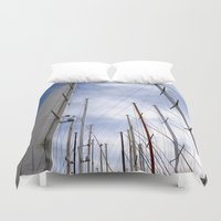 sailing Duvet Covers featuring sailing by habish