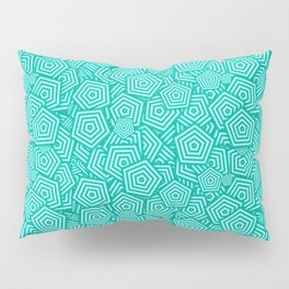 Turquoise Concentric Pentagons Pillow Sham