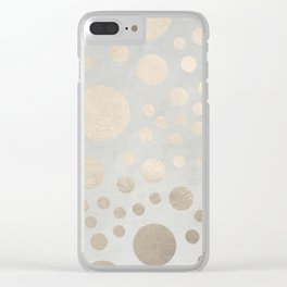 Champagne Gold Dots Pattern on Old Metal Texture Clear iPhone Case