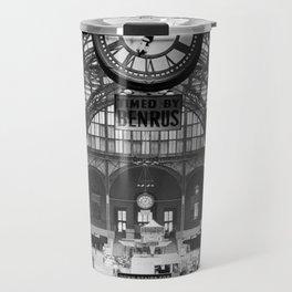 Penn Station 370 Seventh Avenue Train Station Concourse New York black and white photography - photo Travel Mug