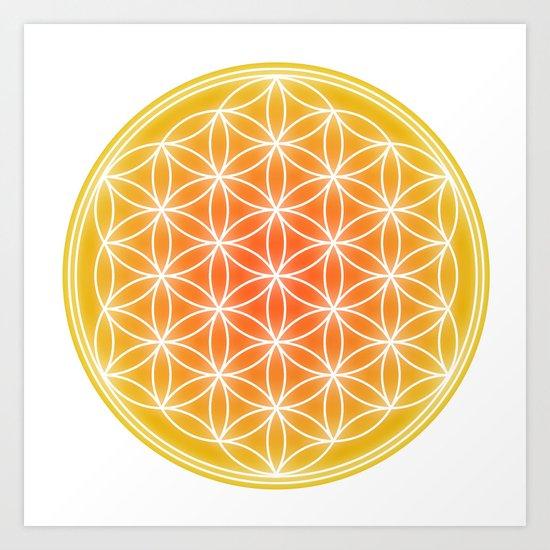 Flower of Life - Yellow calm Art Print