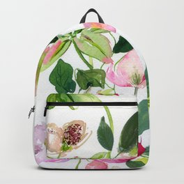 green clematises and hellebores Backpack