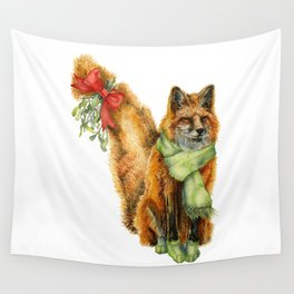 Foxy Mistletoe Wall Tapestry