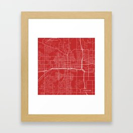 Lansing Map, USA - Red Framed Art Print