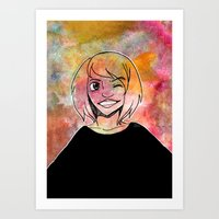 risa rodil Art Prints featuring Risa Multi colour by Laura Monaghan Illustration