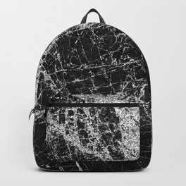 Silver Glitter Veins on Black Midnight Scratched Marble Backpack