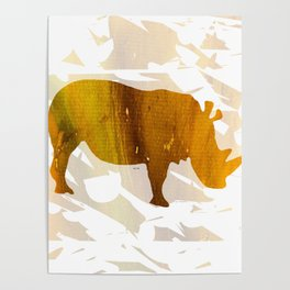 Colorful Art Rhino Abstract Yellow Poster