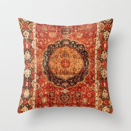 Seley 16th Century Antique Persian Carpet Print Throw Pillow