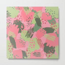 Pink & Green cool brush Metal Print