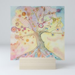 Whimsical tree of life with pastel colors Mini Art Print
