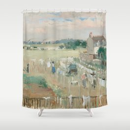 Hanging the Laundry out to Dry by Berthe Morisot Shower Curtain
