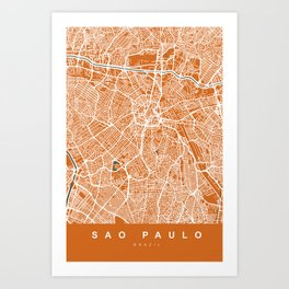 Sao Paulo City Map | Brazil | Orange | More Colors, Review My Collections Art Print