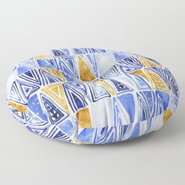 Blue Gold Geometrical Tribal Ethnic Triangles Pattern Floor Pillow