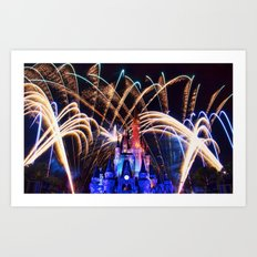 Walt Disney World Christmas Eve Fireworks Art Print