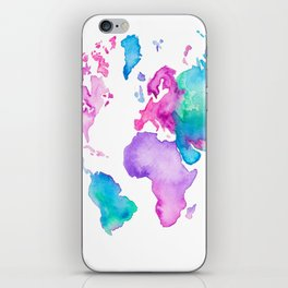 Modern world map globe bright watercolor paint iPhone Skin