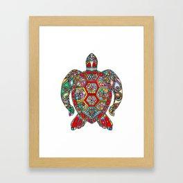 Colorful Sea Turtle Abstract Mandala Framed Art Print