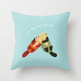 Let's Stay Warm Two-Otter Throw Pillow