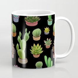 Potted cacti and succulents on black background Coffee Mug