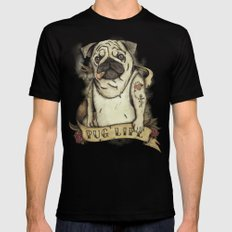 Pug Life Black Mens Fitted Tee 2X-LARGE