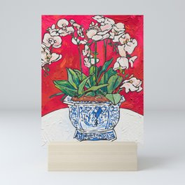Orchid in Blue-and-white Bird Pot on Red after Matisse Mini Art Print