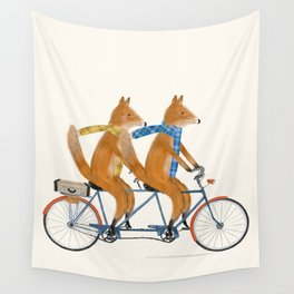 foxes lets tandem Wall Tapestry