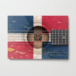 Old Vintage Acoustic Guitar with Dominican Flag Metal Print