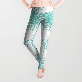 Abstract bright turquoise dotted background Leggings