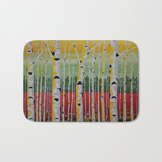 Birch Trees Landscape Bath Mat