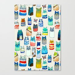 Lots of Watercolor Kitty Cats Canvas Print