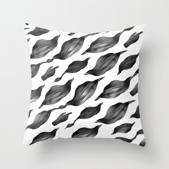 black leaves Throw Pillow