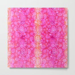 Floral pattern inspired by Hindu and Moroccan textiles Metal Print