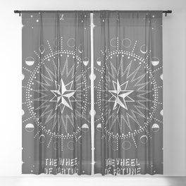 Minimal Tarot Deck The Wheel of Fortune Sheer Curtain