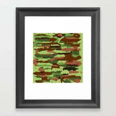 Trendy Green and Brown Camouflage Spheres Framed Art Print