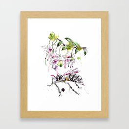 A Flower & Mechanical Wasp Framed Art Print