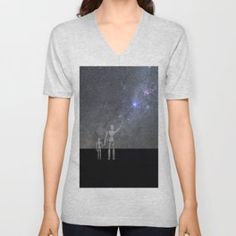 Wooden Anatomy Doll Father Shows Child the Milky Way Galaxy Unisex V-Neck
