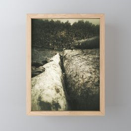 Abstract view to stacked felled trees at the lumbermill Framed Mini Art Print