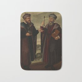 SS. Cosmas and Damian in a landscape. Oil painting, 17th c. Bath Mat