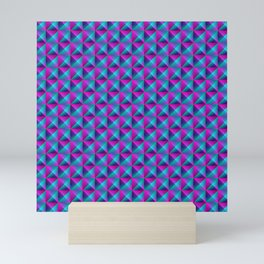 Tiled pattern of dark blue rhombuses and purple triangles in a zigzag and pyramid. Mini Art Print