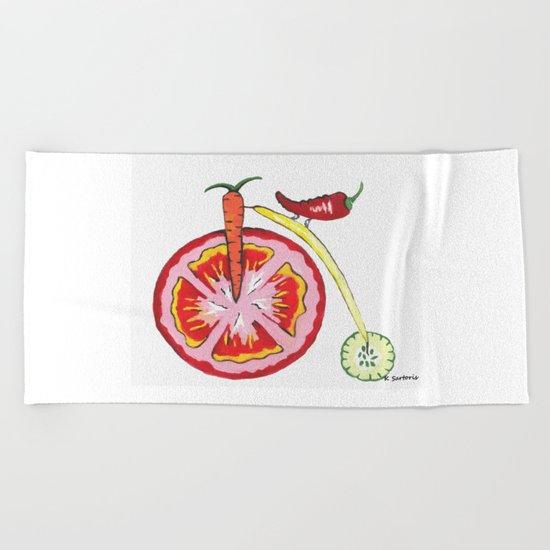 Veggie Bike Beach Towel