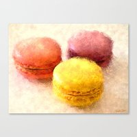 macarons Canvas Prints featuring MACARONS!!! by Elizabeth Cakovan
